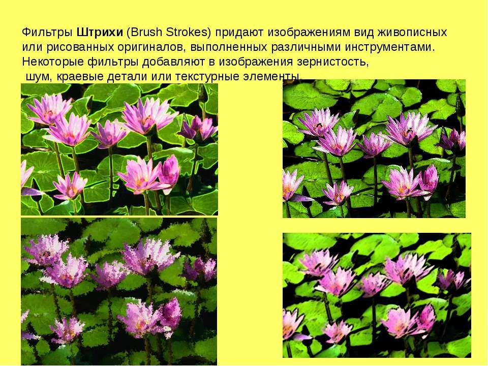 Фильтры Штрихи (Brush Strokes) придают изображениям вид живописных или рисова...