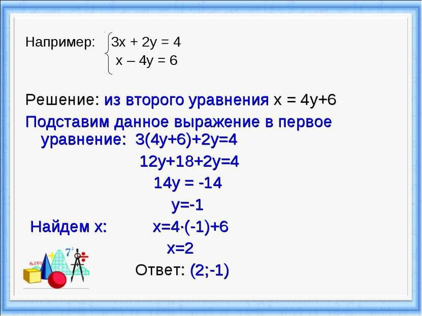 Например: 3х + 2у = 4 х – 4у = 6 Решение: из второго уравнения x = 4y+6 Подст...