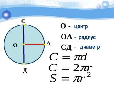 О А С Д О - ОА - СД - центр радиус диаметр