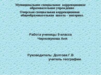 Муниципальное специальное коррекционное образовательное учреждение Очерская с...