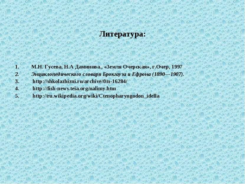 Литература: М.Н. Гусева, Н.А Даминова., «Земля Очерская», г.Очер, 1997 Энцикл...