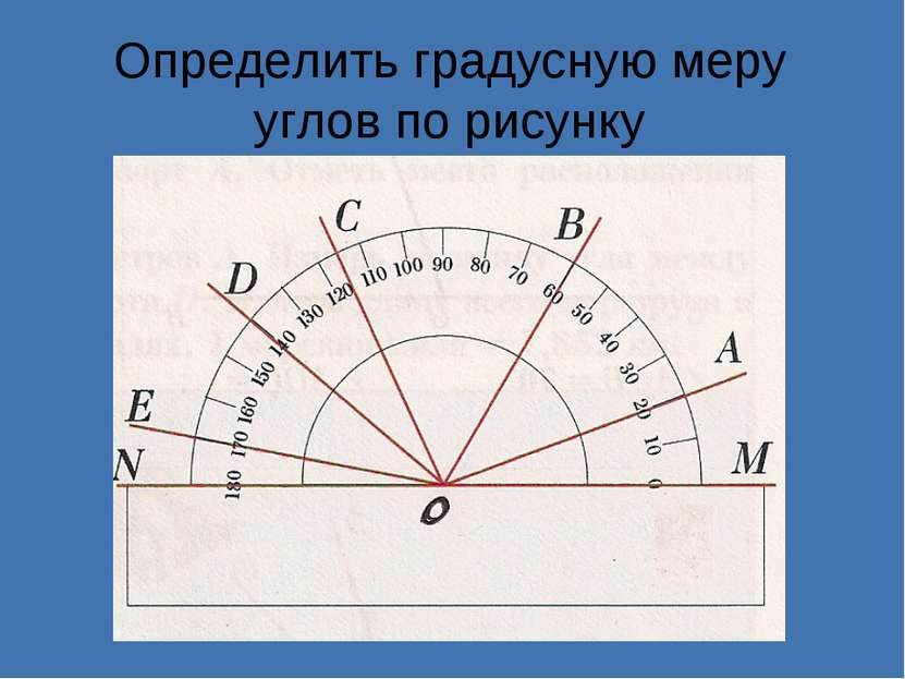Определить градусную меру углов по рисунку