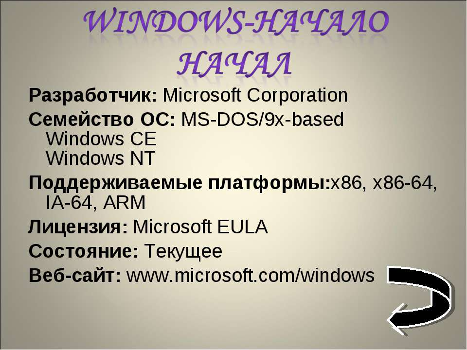 Разработчик: Microsoft Corporation Семейство ОС: MS-DOS/9x-based Windows CE W...
