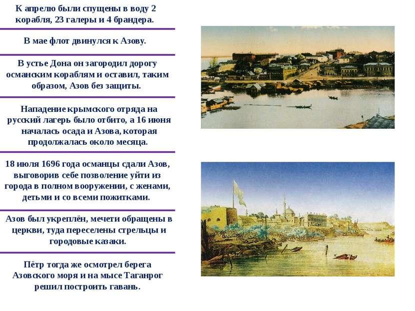 Пётр тогда же осмотрел берега Азовского моря и на мысе Таганрог решил построи...