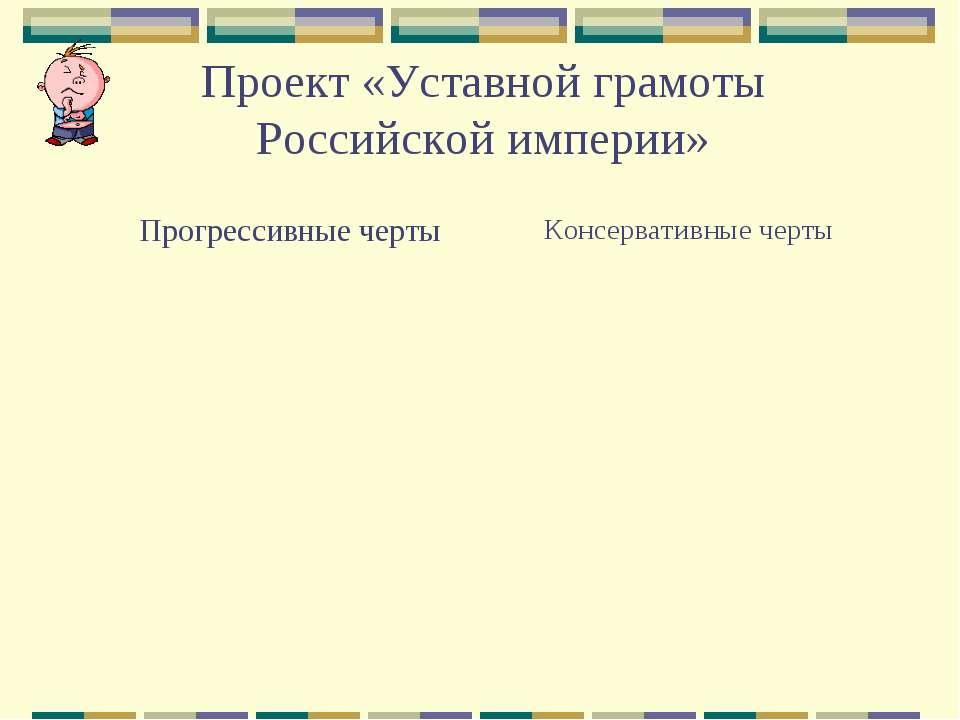 Проект «Уставной грамоты Российской империи» Прогрессивные черты Консервативн...