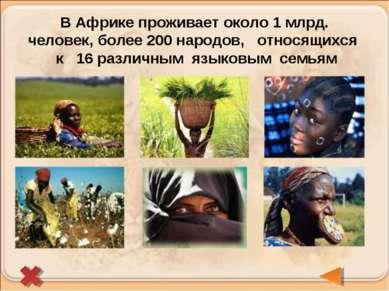 В Африке проживает около 1 млрд. человек, более 200 народов, относящихся к 16...