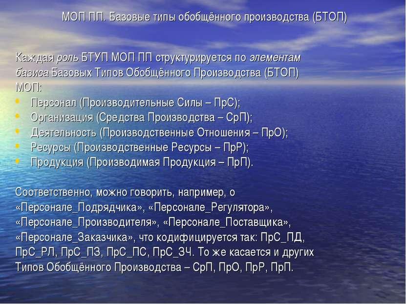 МОП ПП. Базовые типы обобщённого производства (БТОП) Каждая роль БТУП МОП ПП ...