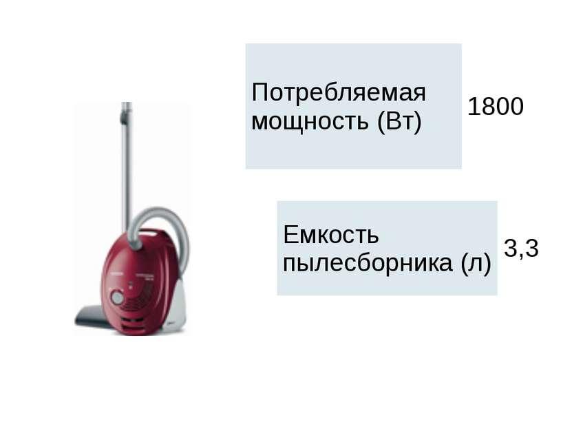 Потребляемая мощность (Вт) 1800 Емкость пылесборника (л) 3,3
