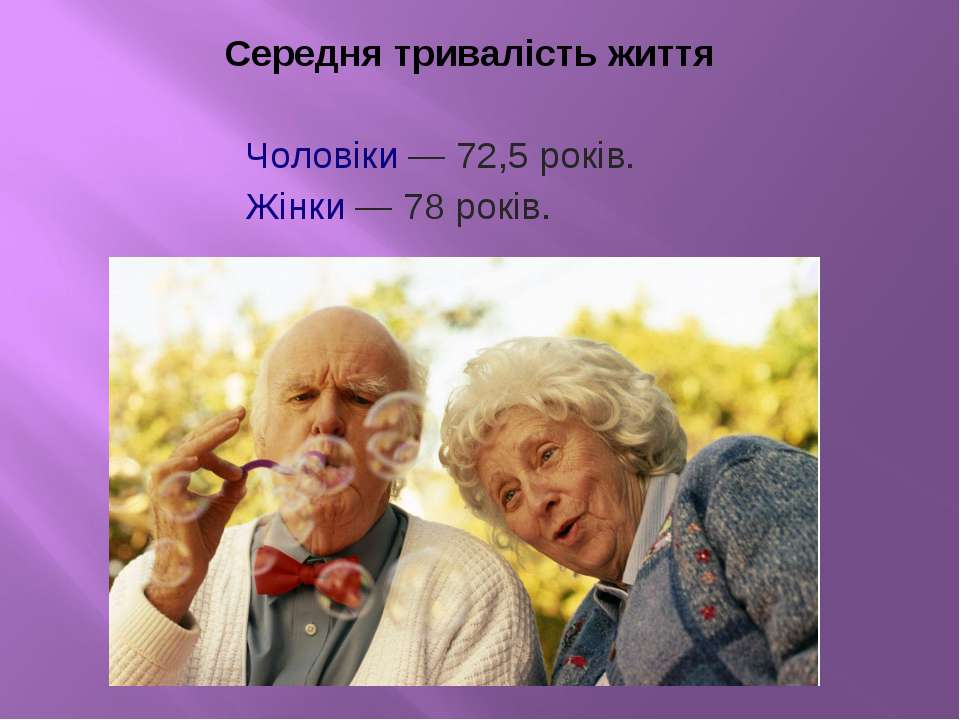 Середня тривалість життя Чоловіки— 72,5 років. Жінки— 78 років.