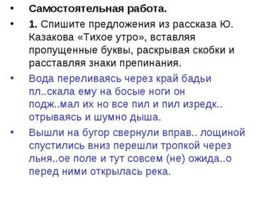 Самостоятельная работа. 1. Спишите предложения из рассказа Ю. Казакова «Тихое...