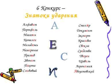 6 Конкурс – Знатоки ударения Алфавит Портфель Магазин Каталог Молодежь Намере...