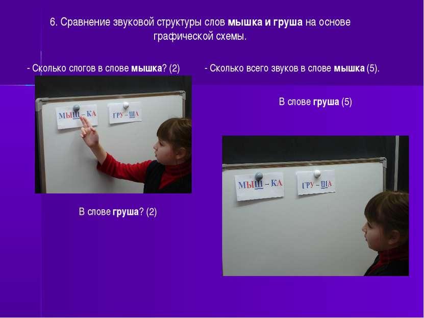 6. Сравнение звуковой структуры слов мышка и груша на основе графической схем...