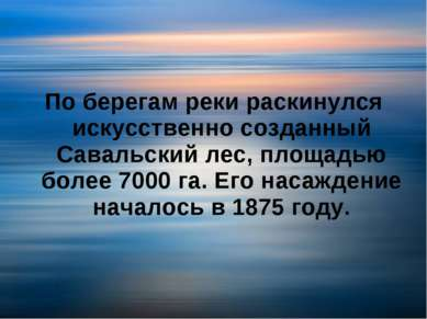 По берегам реки раскинулся искусственно созданный Савальский лес, площадью бо...
