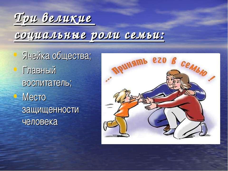 Три великие социальные роли семьи: Ячейка общества; Главный воспитатель; Мест...