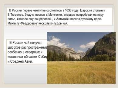 В России первое чаепитие состоялось в 1638 году. Царский стольник В.Тюменец, ...