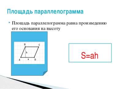 Площадь параллелограмма равна произведению его основания на высоту Площадь па...