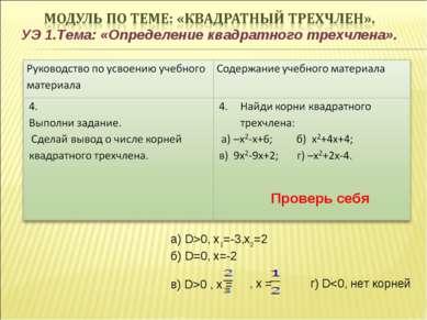 УЭ 1.Тема: «Определение квадратного трехчлена». Проверь себя а) D>0, х1=-3,х2...