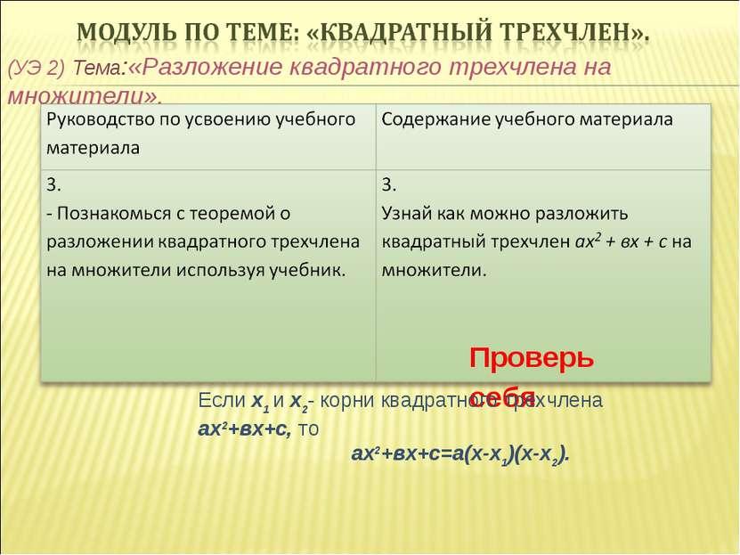 (УЭ 2) Тема:«Разложение квадратного трехчлена на множители». Проверь себя Есл...
