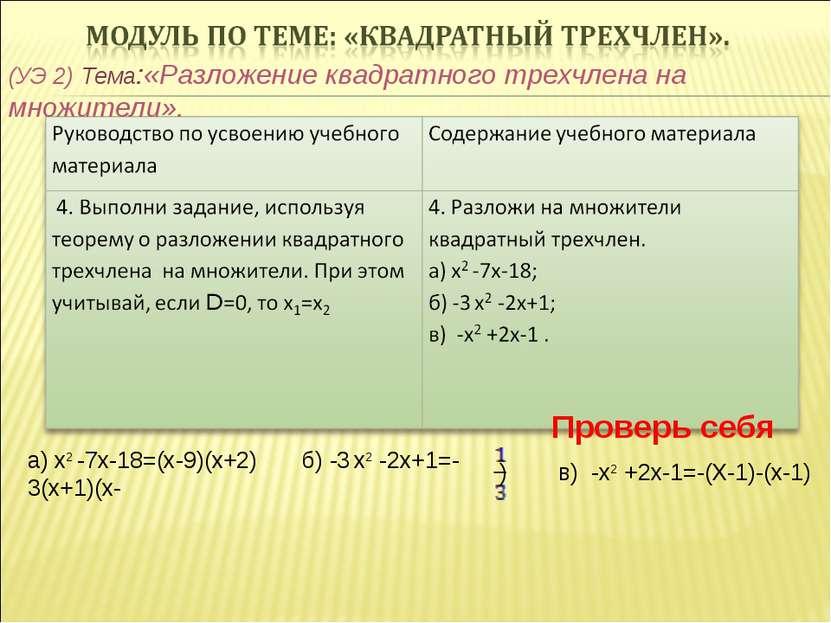 (УЭ 2) Тема:«Разложение квадратного трехчлена на множители». Проверь себя а) ...