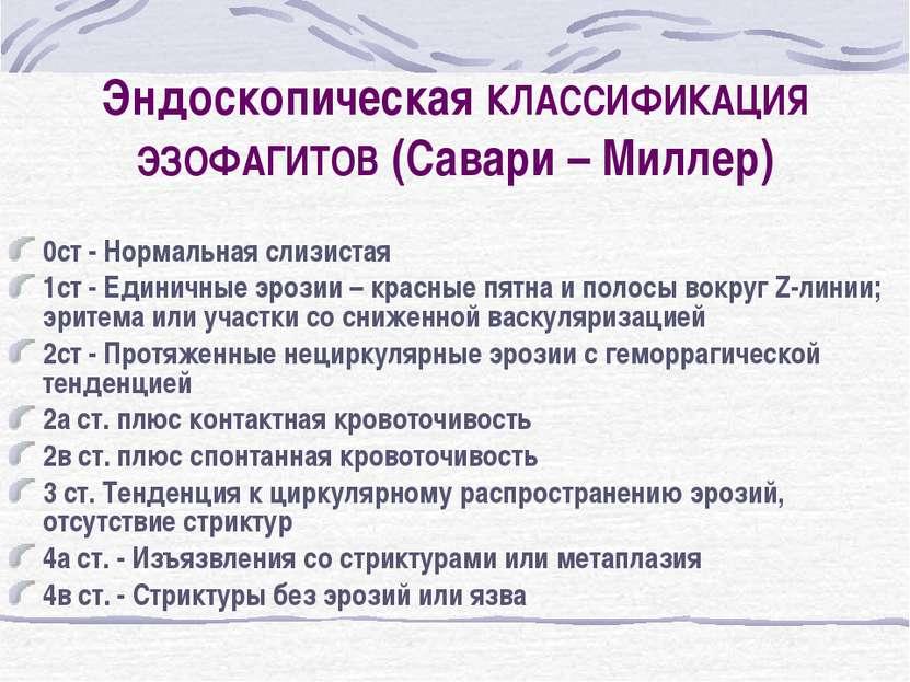 Эндоскопическая КЛАССИФИКАЦИЯ ЭЗОФАГИТОВ (Савари – Миллер) 0ст - Нормальная с...