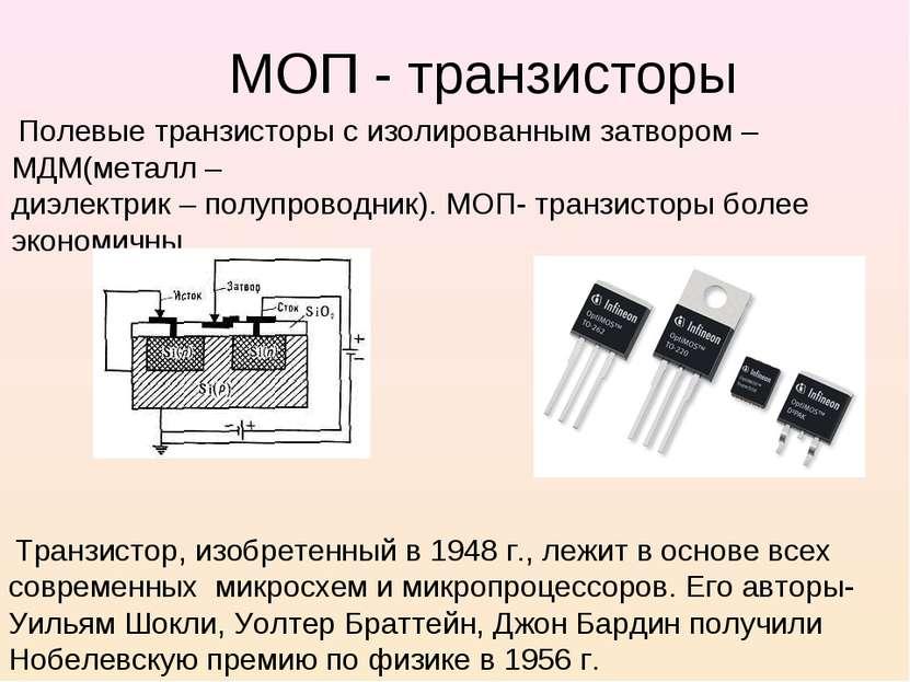 МОП - транзисторы Полевые транзисторы с изолированным затвором – МДМ(металл –...