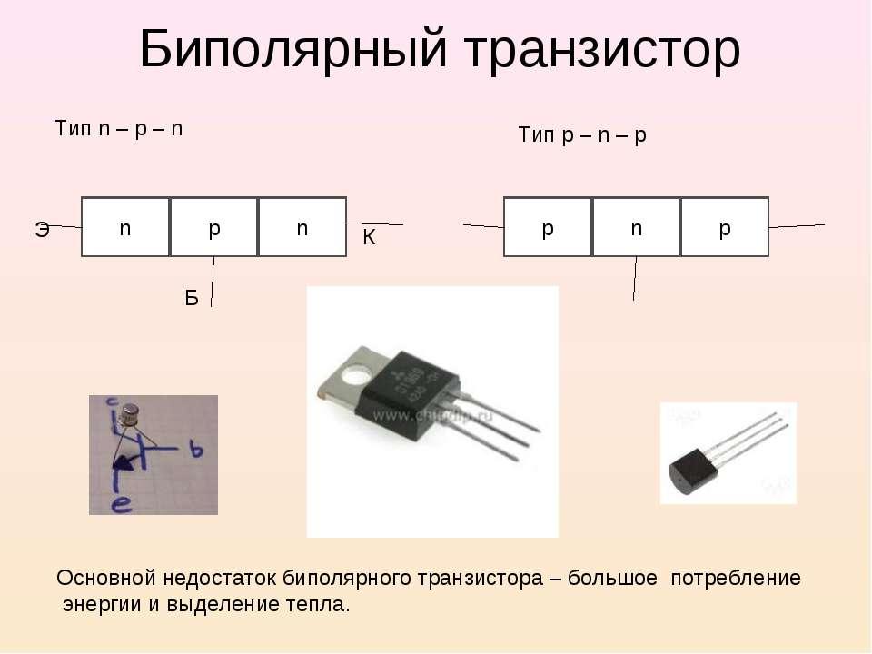 Биполярный транзистор Тип n – p – n Тип p – n – p n p n p n p Э Б К Основной ...