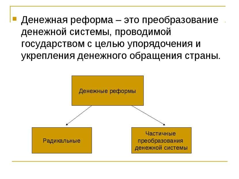 Денежная реформа – это преобразование денежной системы, проводимой государств...