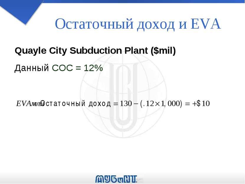 Остаточный доход и EVA Quayle City Subduction Plant ($mil) Данный COC = 12%
