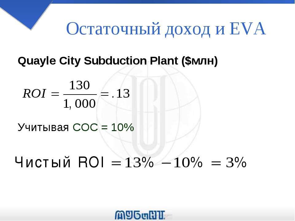 Остаточный доход и EVA Quayle City Subduction Plant ($млн) Учитывая COC = 10%