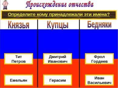Определите кому принадлежали эти имена? Дмитрий Иванович Иван Васильевич Гера...