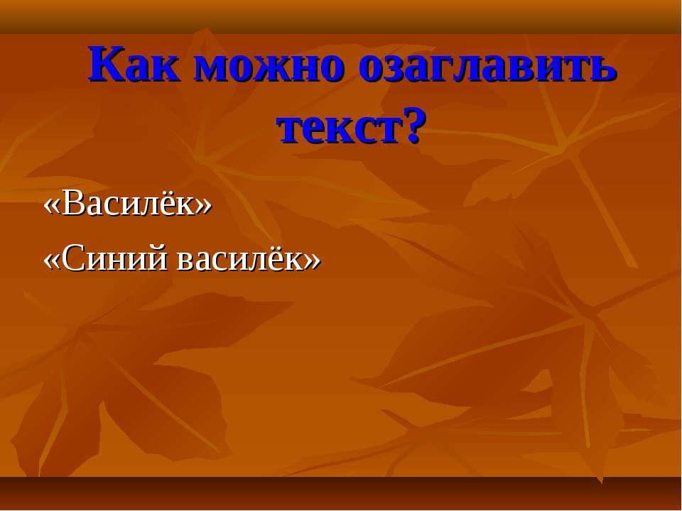 Как можно озаглавить текст? «Василёк» «Синий василёк»