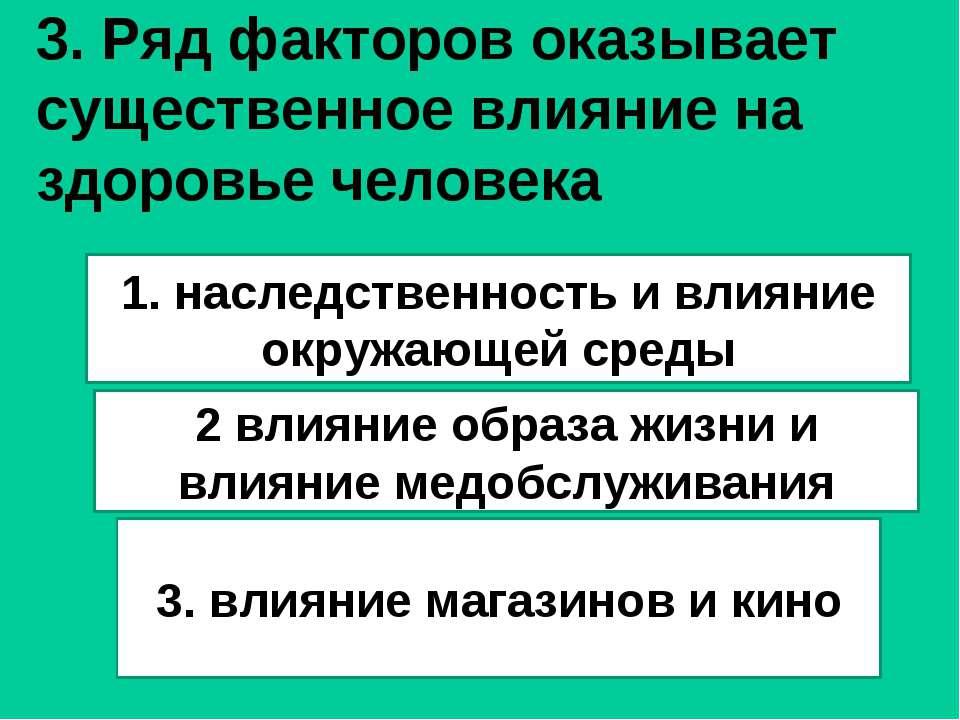 3. Ряд факторов оказывает существенное влияние на здоровье человека 1. наслед...
