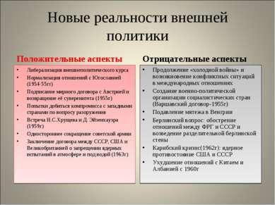 Новые реальности внешней политики Положительные аспекты Либерализация внешнеп...