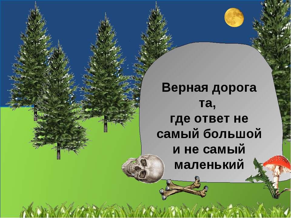 Верная дорога та, где ответ не самый большой и не самый маленький
