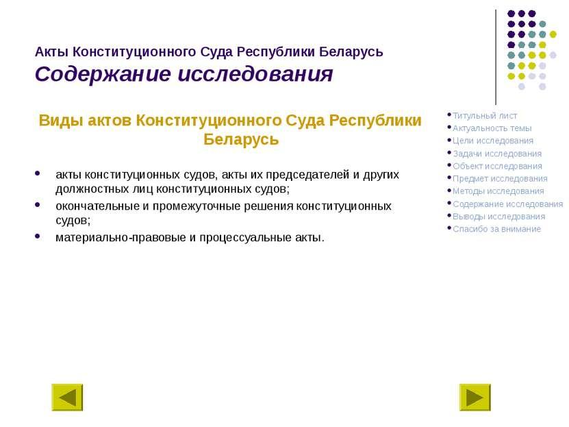 Акты Конституционного Суда Республики Беларусь Содержание исследования Виды а...