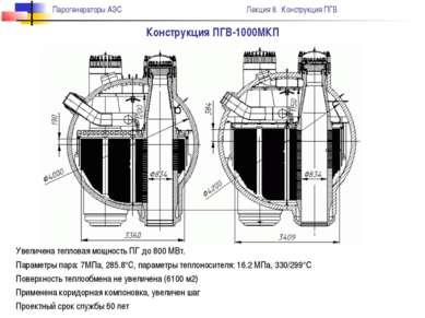 Конструкция ПГВ-1000МКП Увеличена тепловая мощность ПГ до 800 МВт. Параметры ...