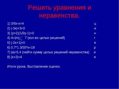 Решить уравнения и неравенства. 1) 3/5x-x=4 ц 2) |-3x|+3=0 и 3) (y+2)(1/2y-1)...