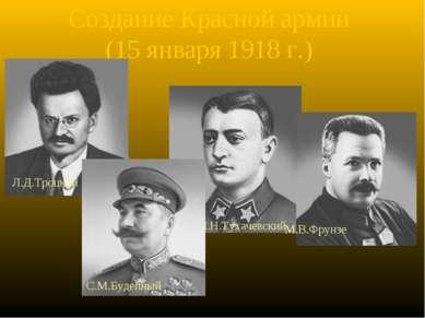 Создание Красной армии (15 января 1918 г.) Л.Д.Троцкий М.Н.Тухачевский М.В.Фр...