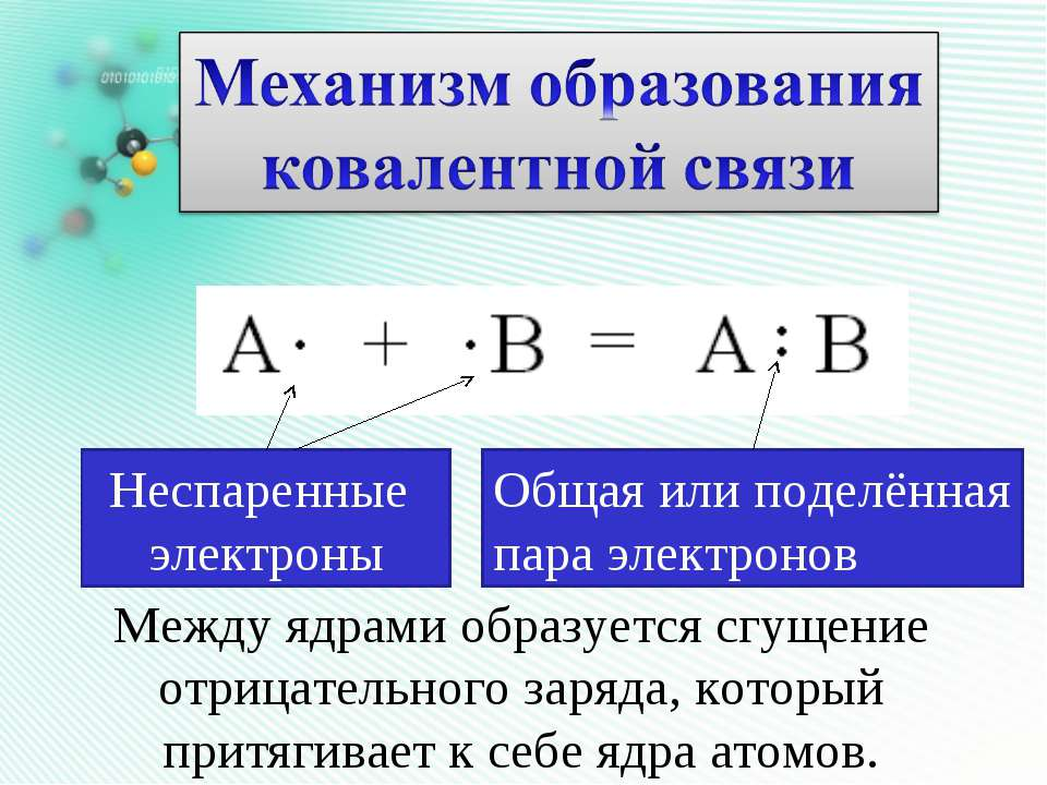 Неспаренные электроны Общая или поделённая пара электронов Между ядрами образ...