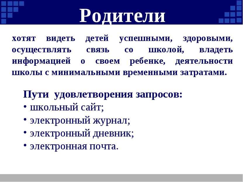 Родители Пути удовлетворения запросов: школьный сайт; электронный журнал; эле...