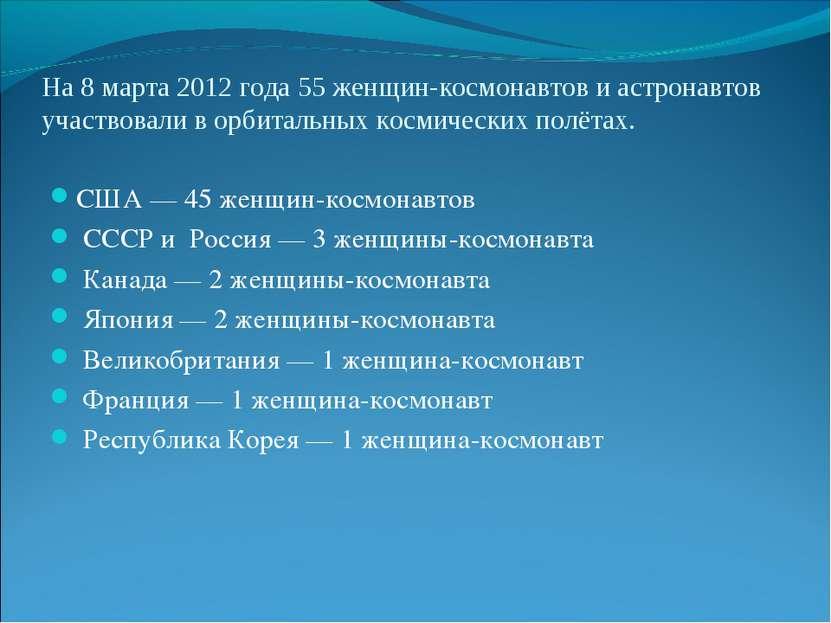 На 8 марта 2012 года 55 женщин-космонавтов и астронавтов участвовали в орбита...