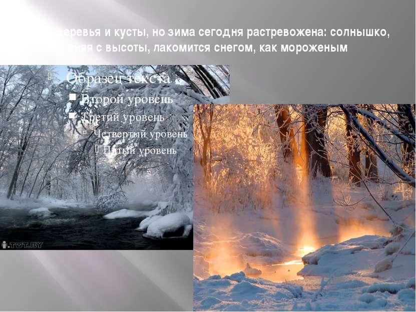 Спят деревья и кусты, но зима сегодня растревожена: солнышко, сияя с высоты, ...