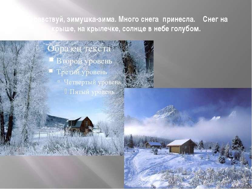 Здравствуй, зимушка-зима. Много снега принесла. Снег на крыше, на крылечке, с...