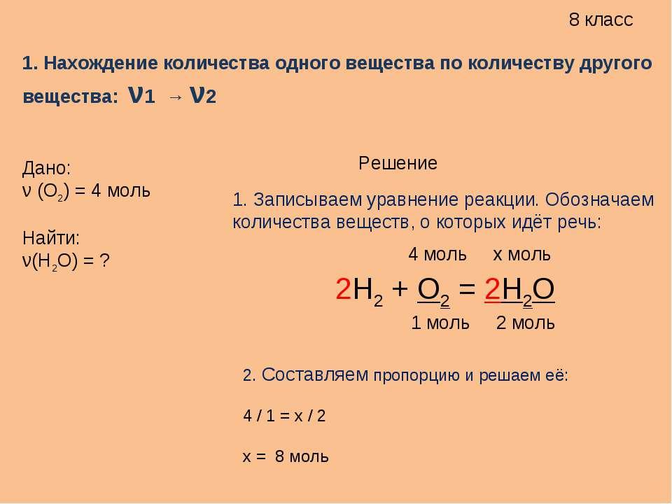 8 класс 1. Нахождение количества одного вещества по количеству другого вещест...