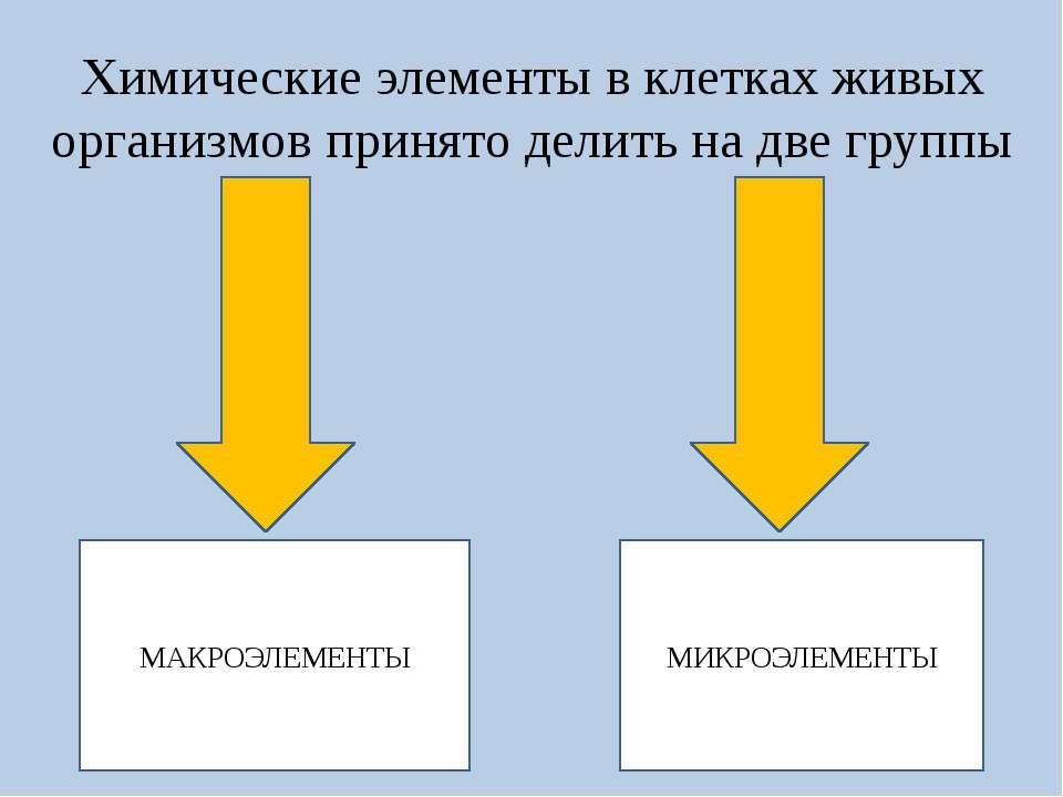 Химические элементы в клетках живых организмов принято делить на две группы М...