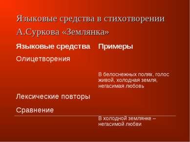 Языковые средства в стихотворении А.Суркова «Землянка» Языковые средства Прим...