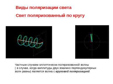 Виды поляризации света Свет поляризованный по кругу Частным случаем эллиптиче...