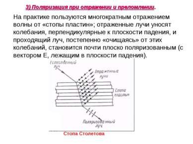 На практике пользуются многократным отражением волны от «стопы пластин»; отра...