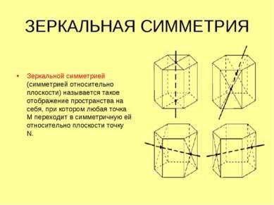 ЗЕРКАЛЬНАЯ СИММЕТРИЯ Зеркальной симметрией (симметрией относительно плоскости...