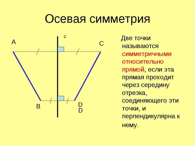 Осевая симметрия Две точки называются симметричными относительно прямой, если...